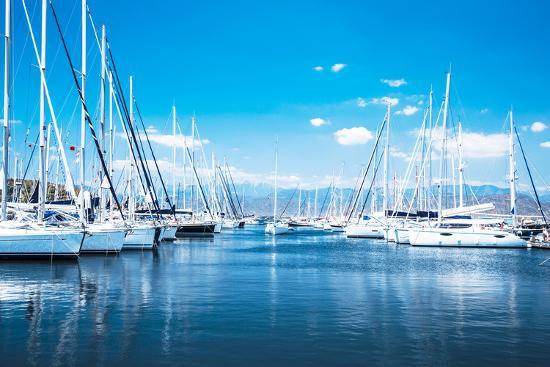 Sailboat Harbor, Many Beautiful Moored Sail Yachts in the Sea Port, Modern Water Transport, Summert-Anna Omelchenko-Photographic Print