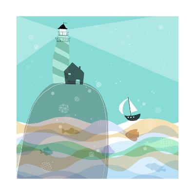 Sailboat Headed to Lighthouse--Art Print
