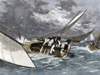 Sailboat Heeling Over in a Hiker-Yacht Race on the Delaware River, 1870s--Giclee Print