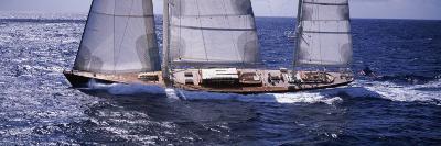Sailboat in the Sea, Antigua--Photographic Print