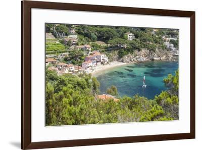Sailboat in the turquoise sea, Porto Azzurro, Elba Island, Livorno Province, Tuscany, Italy, Europe-Roberto Moiola-Framed Photographic Print