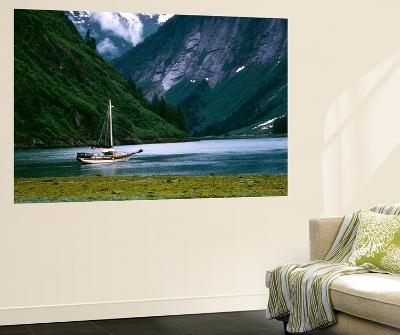 Sailboat in Tracy Arm, Fords Terror Wilderness, Alaska, USA-Howie Garber-Wall Mural