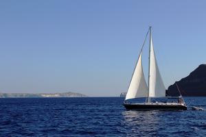Sailboat on Aegean Sea Santorini Greece