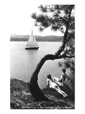 Sailboat on Lake Coeur d'Alene, Idaho--Art Print