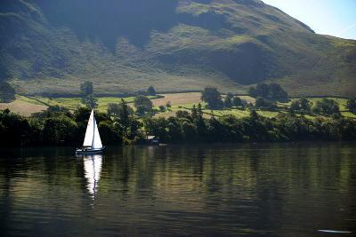 Sailboat on Ullswater in the Lake District (Cumbria; England)-Paul Banton-Photographic Print