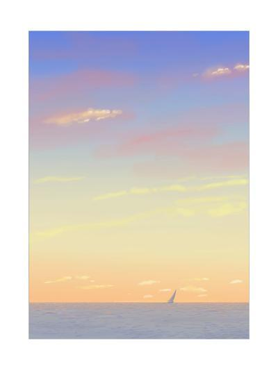 Sailboat Out on the Sea with Sunset Colored Sky--Art Print