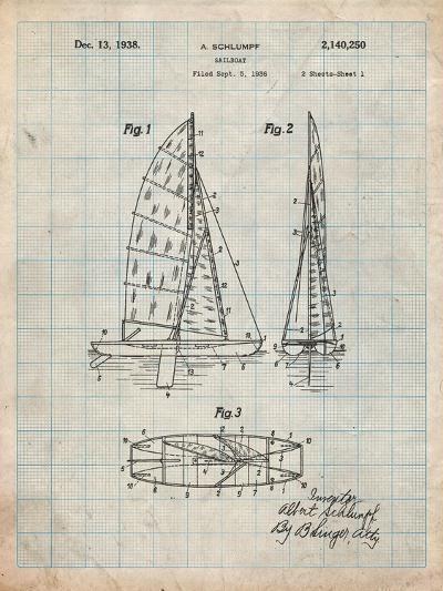 Sailboat Patent-Cole Borders-Art Print