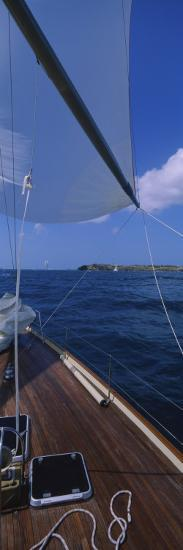 Sailboat Racing in the Sea, Grenada--Photographic Print