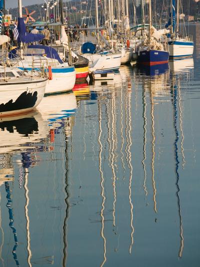 Sailboat Reflections, Southern Harbor, Lesvos, Mithymna, Northeastern Aegean Islands, Greece-Walter Bibikow-Photographic Print