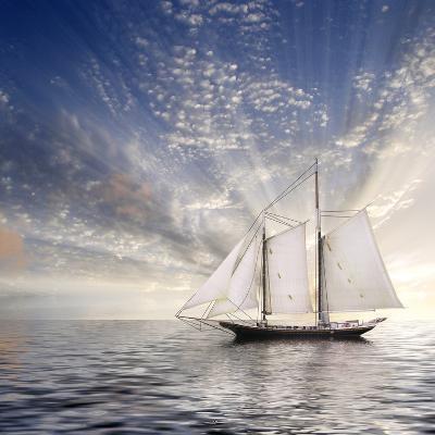 Sailboat Sun And Sky-rolffimages-Art Print