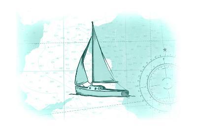 Sailboat - Teal - Coastal Icon-Lantern Press-Art Print