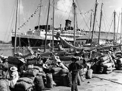 Sailboats and Cruise Ship Yarmouth Docked at Nassau, Bahamas, C.1970--Photographic Print