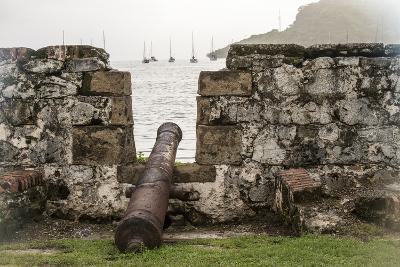 Sailboats and Fort San Jeronimo, Portobelo, Panama-Jonathan Kingston-Photographic Print