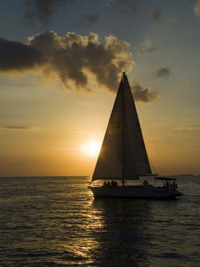 Sailboats at Sunset, Key West, Florida, United States of America, North America-Robert Harding-Photographic Print