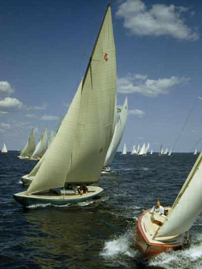 Sailboats Cross a Starting Line During a Regatta-B^ Anthony Stewart-Photographic Print