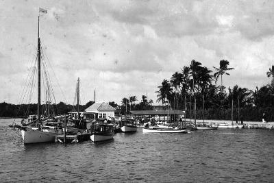 Sailboats Docked at the Royal Palm Hotel Boathouse at the Entrance to the Miami River, C.1900--Photographic Print