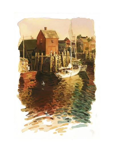 Sailboats in Harbor--Art Print