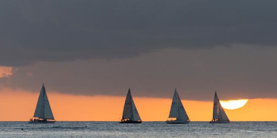 Sailboats in the Ocean at Sunset, Waikiki, Honolulu, Oahu, Hawaii, USA-Keith Levit-Photographic Print