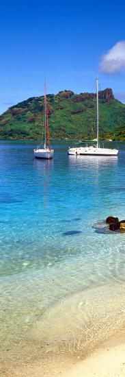 Sailboats in the Ocean, Tahiti, Society Islands, French Polynesia--Photographic Print