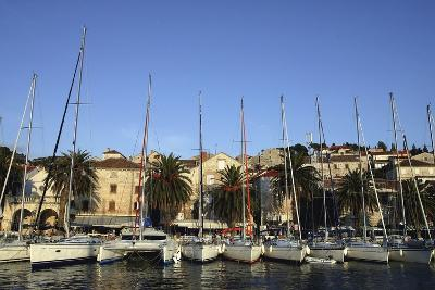 Sailboats Lined Up in Hvar Harbour-Design Pics Inc-Photographic Print