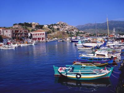 Sailboats Moored at Molyvos Harbour, Lesvos, Greece-Jeremy Lightfoot-Photographic Print