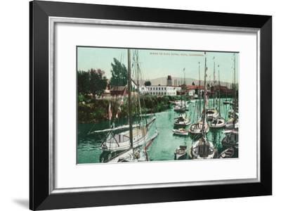 Sailboats on Napa River Scene - Napa, CA-Lantern Press-Framed Art Print