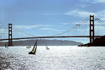 Sailboats on the San Francisco Bay Beneath Golden Gate Bridge-Rex A. Stucky-Photographic Print