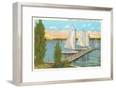Sailboats, Pier, Buckeye Lake, Ohio--Framed Art Print
