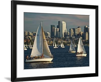 Sailboats Race on Lake Union under City Skyline, Seattle, Washington, Usa-Charles Crust-Framed Photographic Print