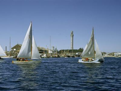Sailboats Racing Off Provincetown Pass Tall Pilgrim Monument-Robert Sisson-Photographic Print