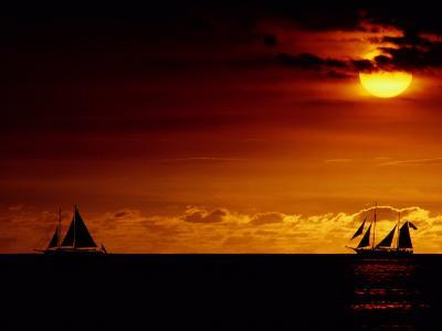 Sailboats Silhouetted on the Pacific Ocean at Twilight-Robert Madden-Photographic Print