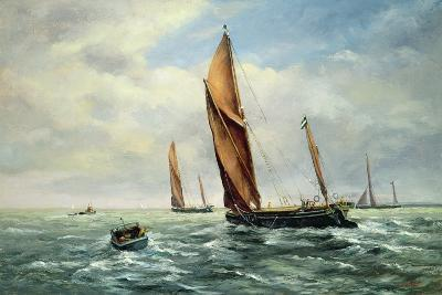 Sailing Barges Racing on the Medway-Vic Trevett-Giclee Print