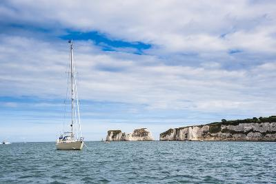 Sailing Boat at Old Harry Rocks, Between Swanage and Purbeck, Dorset, Jurassic Coast, England-Matthew Williams-Ellis-Photographic Print