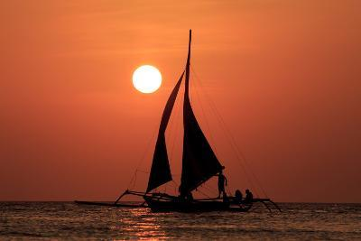 Sailing Boat at Sunset on Sea-Rich Carey-Photographic Print