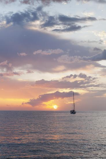 Sailing Boat at Sunset, Playa De Los Cristianos, Los Cristianos, Tenerife, Canary Islands, Spain-Markus Lange-Photographic Print