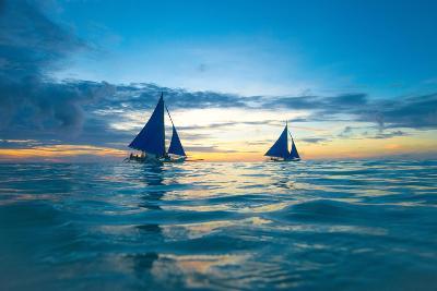 Sailing Boat at Sunset, Sea-Zhencong Chen-Photographic Print