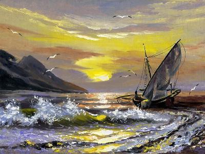 Sailing Boat In Waves On A Decline-balaikin2009-Art Print