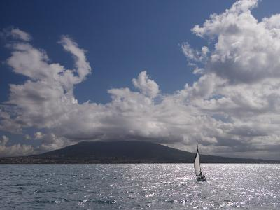 Sailing Boat with Mount Vesuvius Behind, Bay of Naples, Campania, Italy, Mediterranean, Europe--Photographic Print