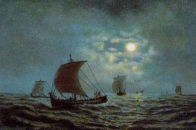 Sailing Boats at Night Time, 20th Century--Giclee Print
