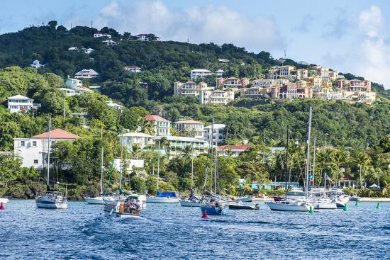 Sailing boats in Cruz Bay, St. John, Virgin Islands National Park, US Virgin Islands, West Indies,-Michael Runkel-Photographic Print