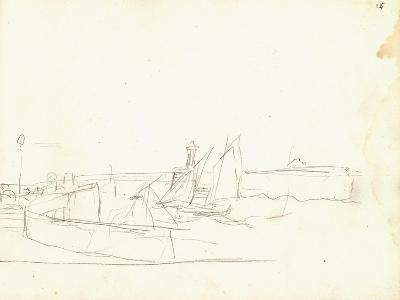 Sailing Boats Leaving a Port (Pencil on Paper)-Claude Monet-Giclee Print