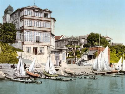 Sailing Boats on the Beach in Front of the Strand Hotel, on the Isle of Rugen, Germany, Pub. C.1895--Photographic Print