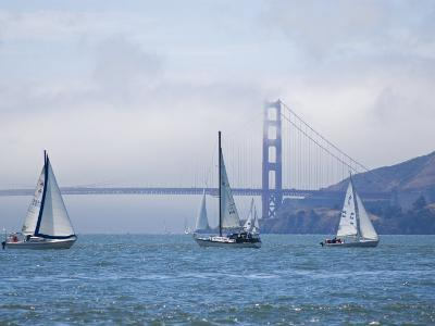 Sailing Boats with the Golden Gate Bridge and Summer Fog in Background, San Francisco, California-Roberto Gerometta-Photographic Print