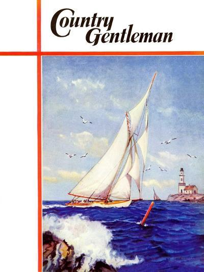 """""""Sailing by the Lighthouse,"""" Country Gentleman Cover, August 1, 1938-Albert B. Marks-Giclee Print"""