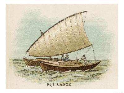 Sailing Catamaran Canoe Used in Fiji--Giclee Print