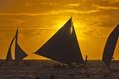 Sailing in the Ocean at Sunset, Boracay Island, Aklan Province, Philippines-Keren Su-Photographic Print
