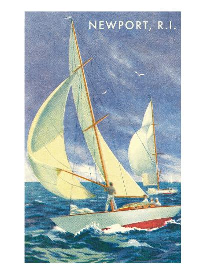 Sailing Race, Newport, Rhode Island--Premium Giclee Print
