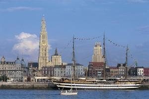 Sailing Ship and a Boat in a River, Schelde River, Antwerp, Flanders, Belgium