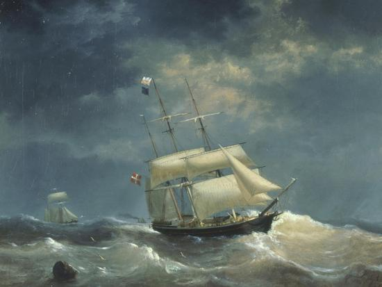 Sailing Ship at Sea-Egidius Linnig-Giclee Print