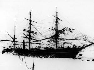 "Sailing Ship ""Discovery"", of Robert F. Scott to South Pole, Frozen During Exploration of Antarctica"